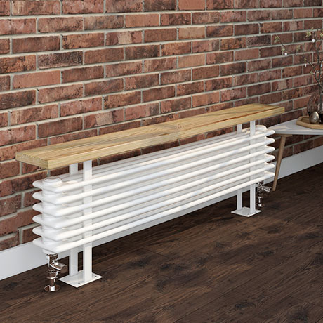 Keswick 480 x 1200mm Cast Iron Style 4 Column White Bench Radiator