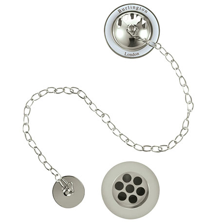 Burlington Nickel Bath Overflow, Plug & Chain - W3-NKL