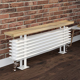 Keswick 480 x 850mm Cast Iron Style 4 Column White Bench Radiator