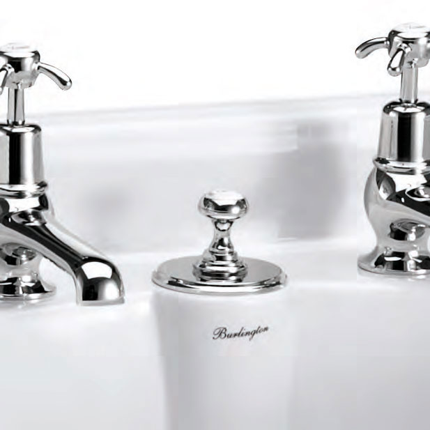 Burlington - Anglesey 2TH Bridge Curved Spout Basin Mixer (230mm centers) w Invisible Overflow profile large image view 3