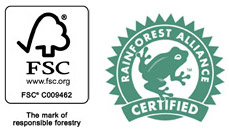 Forest Stewardship Council and Rainforest Alliance Certified logotypes