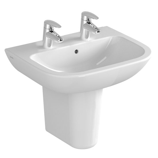 Vitra - S20 Wall Mounted Basin and Half Pedestal - 2 Tap Hole - 5 x Size Options Large Image