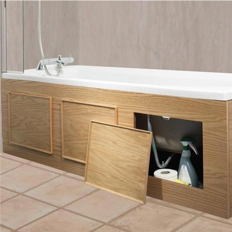croydex - kingston storage front bath panel - oak veneer