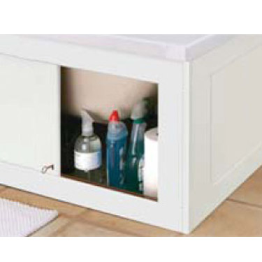 Croydex Unfold N Fit Gloss White Bath Panel with Lockable Storage - Front 1680mm Profile Large Image