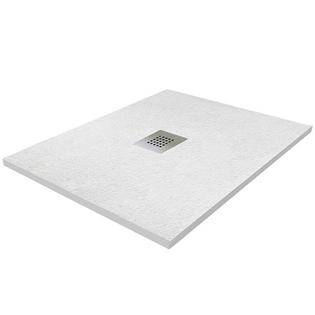 800 x 800mm White Slate Effect Square Shower Tray + Chrome Waste