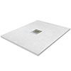 800 x 800mm White Slate Effect Square Shower Tray profile small image view 1