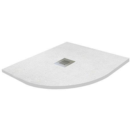 800 x 800mm White Slate Effect Quadrant Shower Tray + Chrome Waste
