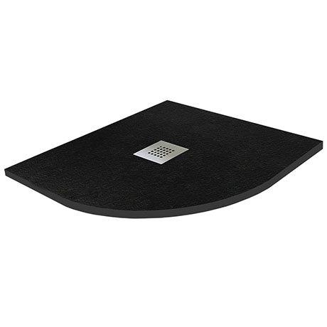 800 x 800mm Black Slate Effect Quadrant Shower Tray + Chrome Waste