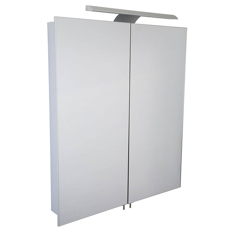 Croydex Sudbury Hang N Lock Double Door Illuminated Mirror Cabinet with Shaver Socket 700 x 600mm - WC147069E