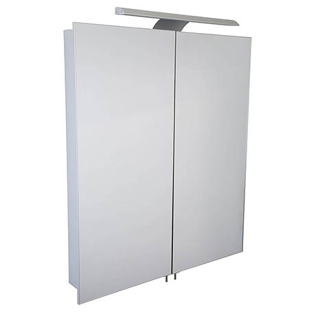 Croydex Sudbury Hang N Lock Double Door Illuminated Mirror Cabinet with Shaver Socket 700 x 600mm -