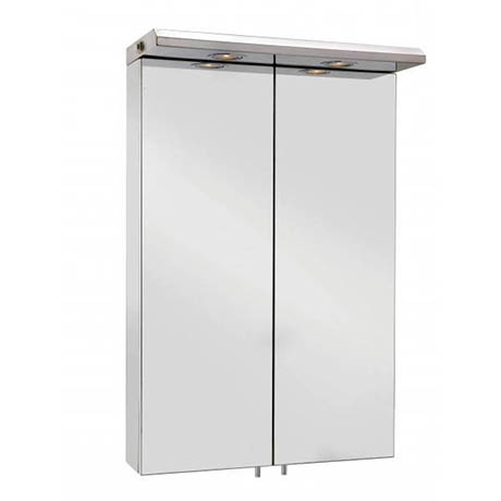Croydex - Colorado Large Double-Door Illuminated Mirror Cabinet - Stainless Steel - WC786105E