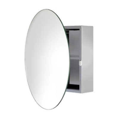 Croydex Severn Circular Door Mirror Cabinet - Stainless Steel - WC836005 Large Image