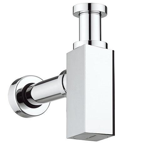 Square Modern Shallow Basin Bottle Trap - Chrome
