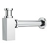 Square Modern Shallow Basin Bottle Trap - Chrome profile small image view 1