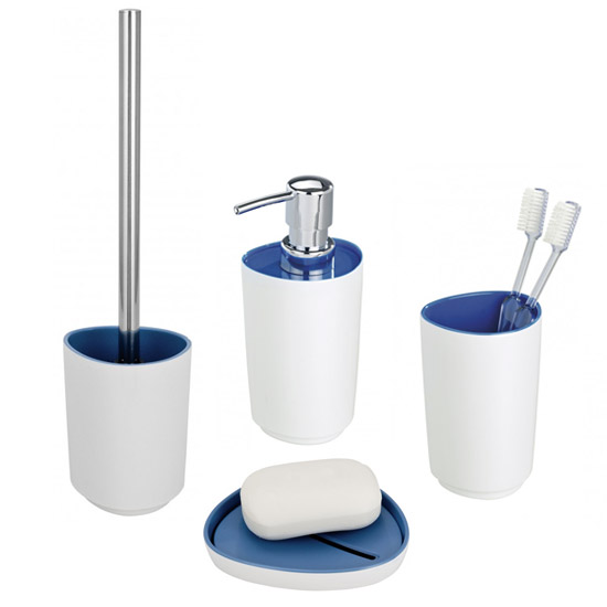 wenko alcamo blue bath accessories set at victorian plumbing uk - Blue Bathroom Accessories Uk
