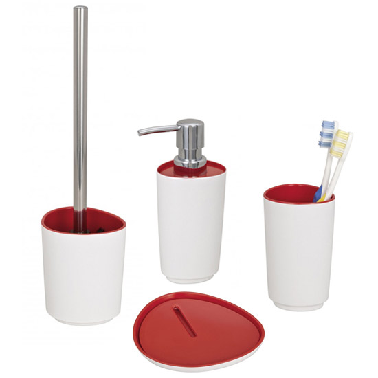 wenko alcamo red bath accessories set at victorian plumbing uk