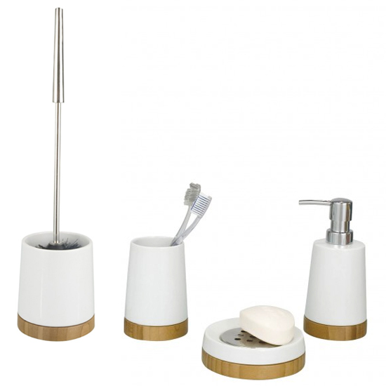 Wenko bamboo ceramic bathroom accessories set at victorian for Bathroom accessories uk
