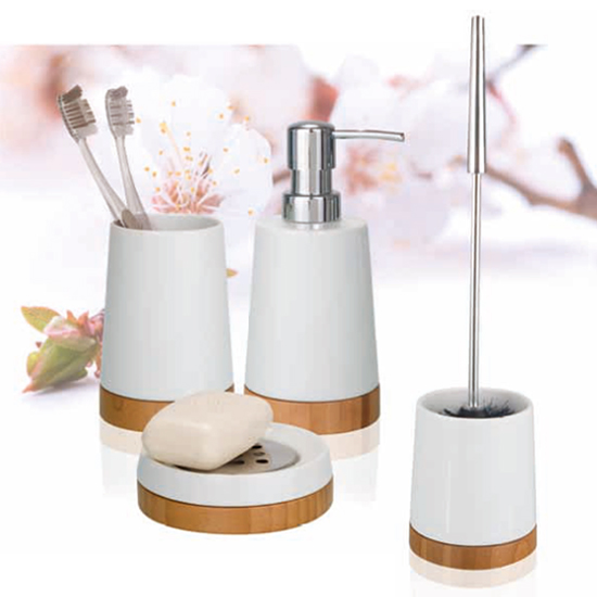 Wenko Bamboo Ceramic Bathroom Accessories Set Profile Large Image