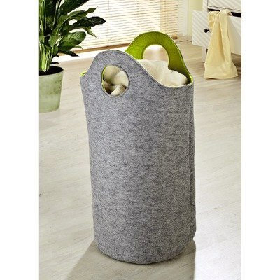 Wenko Felt Universal Laundry Bin - Grey/Green - 2 Size Options profile large image view 2