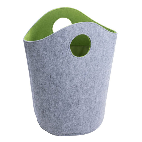 Wenko Felt Universal Laundry Bin - Grey/Green - 2 Size Options Large Image