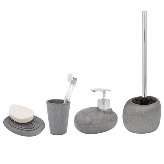 Wenko pebble stone grey bathroom accessories set at for Bathroom fittings set
