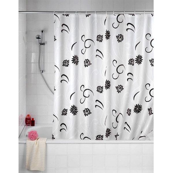 Wenko Flower PEVA Shower Curtain - W1800 x H2000mm - Black - 19503100 Large Image