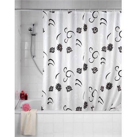 Wenko Flower PEVA Shower Curtain - W1800 x H2000mm - Black - 19503100