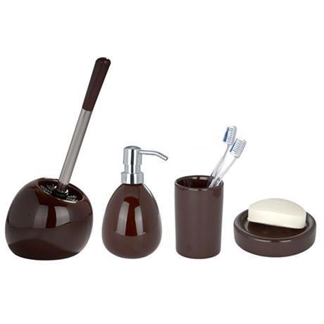 Wenko Polaris Ceramic Bathroom Accessories Set - Brown