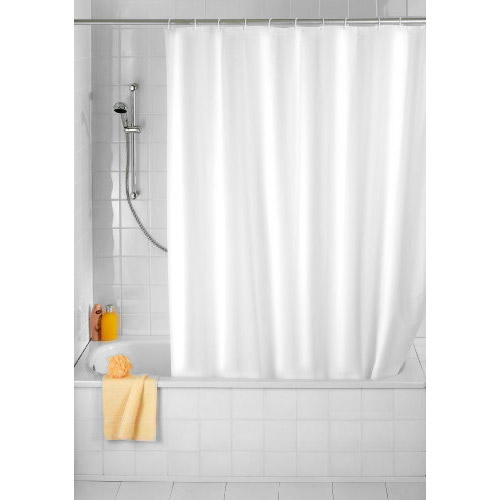 Wenko Plain White Polyester Shower Curtain - W1200 x H2000mm - 19145100 Large Image