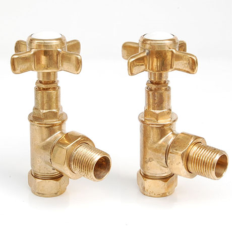 Westminster Crosshead Radiator Valves (pair) - Angled - Un-Lacquered Brass