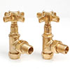 Westminster Crosshead Radiator Valves (pair) - Angled - Un-Lacquered Brass profile small image view 1