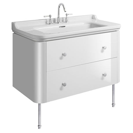 Bauhaus Waldorf 1000mm Wall Hung Vanity Unit with Chrome Legs + Knobs