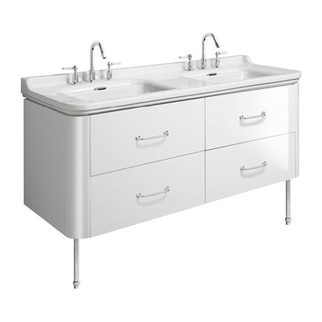 Bauhaus Waldorf 1500mm Wall Hung Vanity Unit with Chrome Legs + Bow Handles