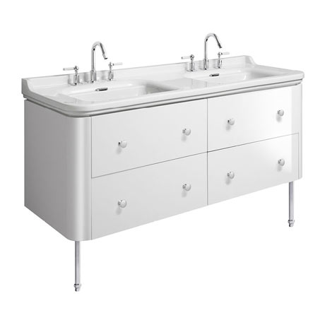 Bauhaus Waldorf 1500mm Wall Hung Vanity Unit with Chrome Legs + Knobs