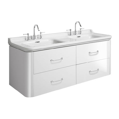 Bauhaus Waldorf 1500mm Wall Hung Vanity Unit with Bow Handles