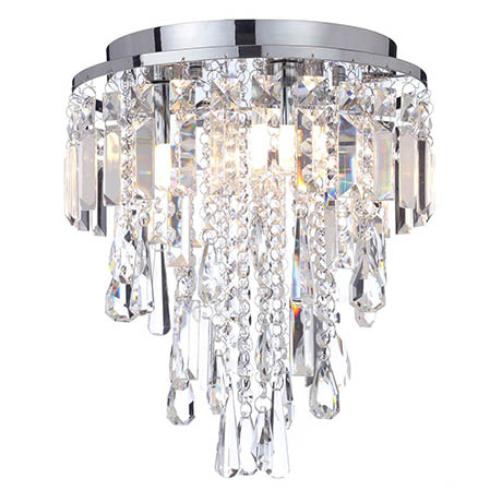 Marquis by Waterford Bresna 28cm Mixed Crystal Flush Bathroom Ceiling Light