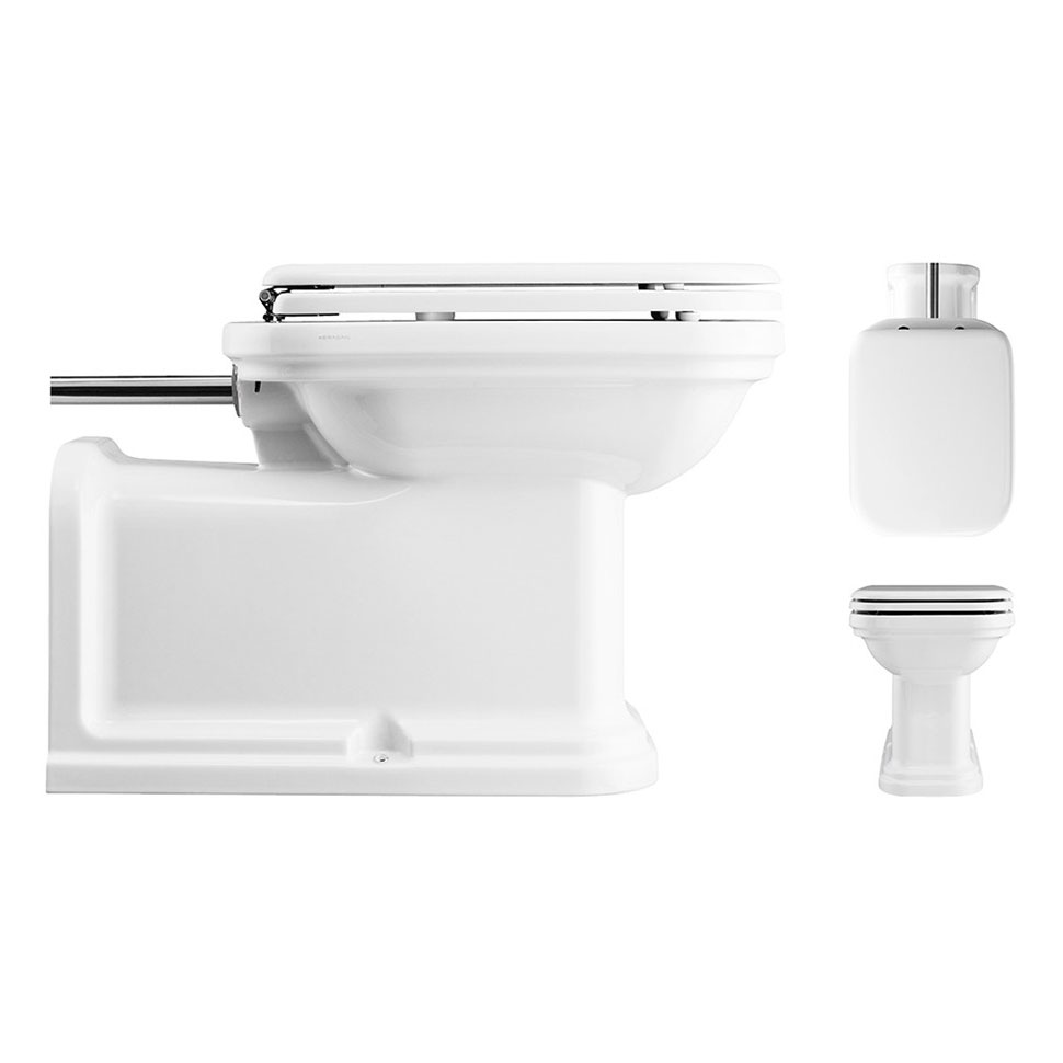 Bauhaus - Waldorf Art Deco 65 Back to Wall Pan with Chrome Flush Pipe & Soft Close Seat Profile Large Image