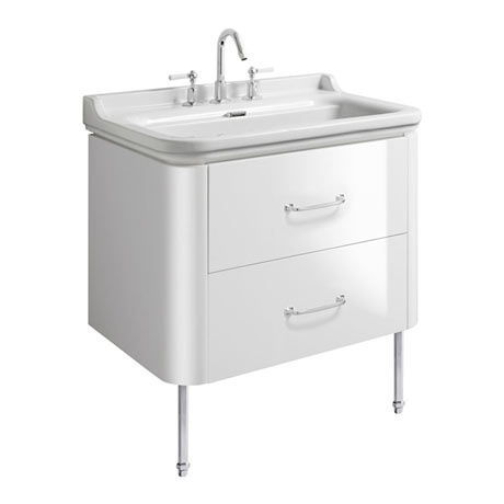 Bauhaus Waldorf 800mm Wall Hung Vanity Unit with Chrome Legs + Bow Handles