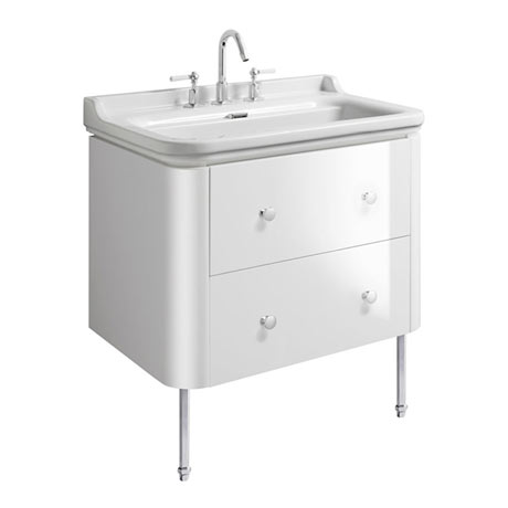 Bauhaus Waldorf 800mm Wall Hung Vanity Unit with Chrome Legs + Knobs
