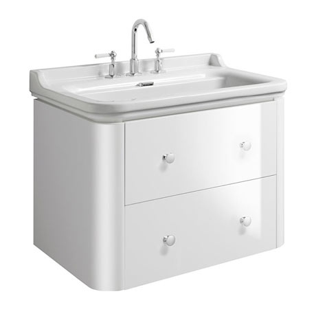 Bauhaus Waldorf 800mm Wall Hung Vanity Unit with Knobs