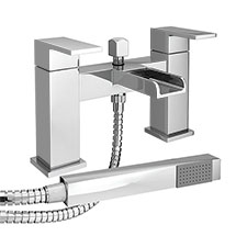 Plaza Waterfall Bath Shower Mixer Taps + Shower Kit Medium Image