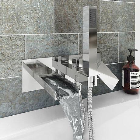 Monza Wall Mounted Bath Shower Mixer Tap + Shower Kit
