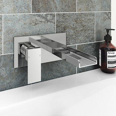 Monza Waterfall Wall Mounted Bath Filler - Chrome