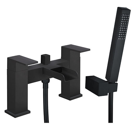 Plaza Matt Black Waterfall Bath Shower Mixer Taps + Shower Kit