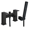 Monza Matt Black Waterfall Bath Shower Mixer Taps + Shower Kit profile small image view 1