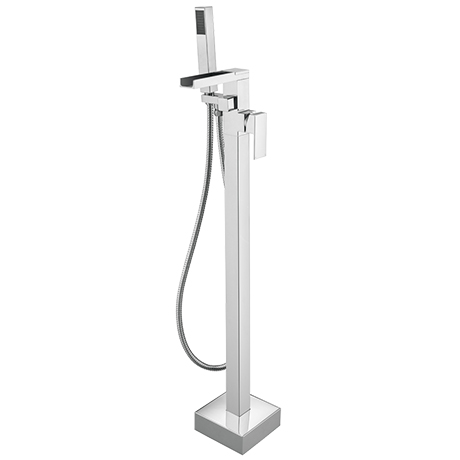 Monza Waterfall Floor Mounted Freestanding Bath Shower Mixer - Chrome