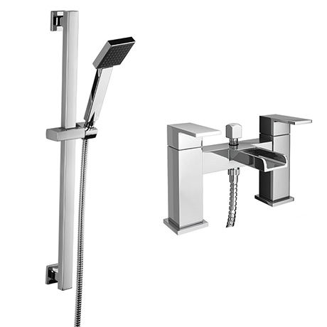 Monza Waterfall Bath Shower Mixer with Slider Rail Kit - Chrome