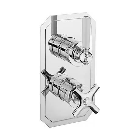 Crosswater Waldorf Art Deco White Lever Slimline Thermostatic Shower Valve - WF1000RC_LV_VS+