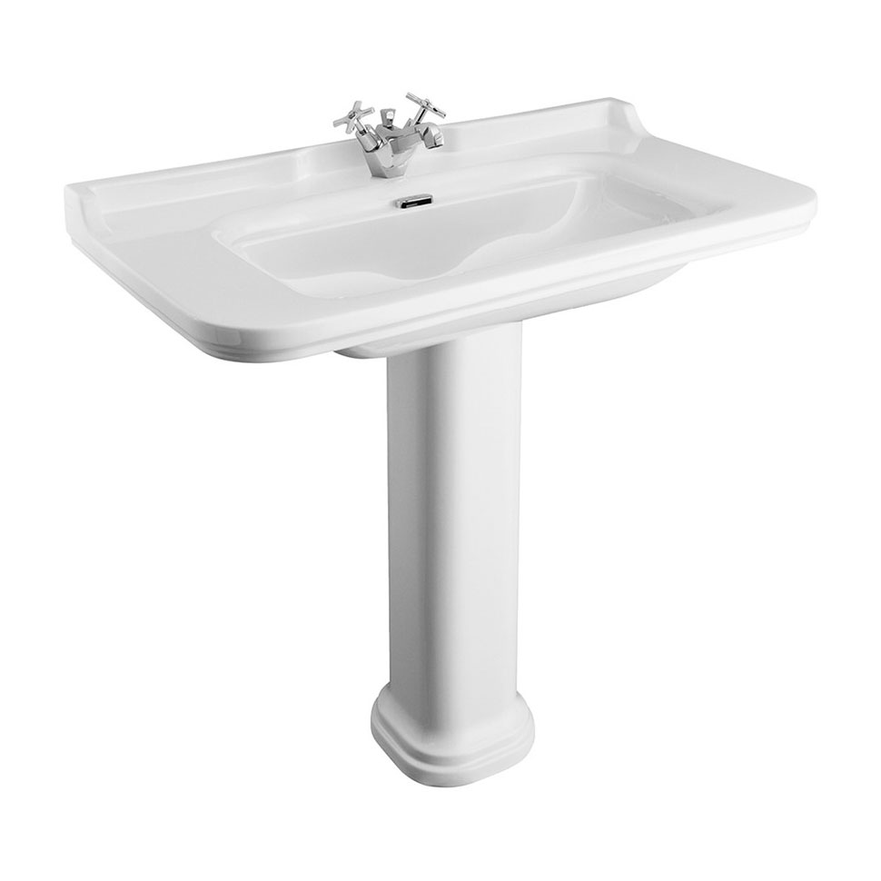 Bauhaus - Waldorf Art Deco 100 Basin & Pedestal profile large image view 1
