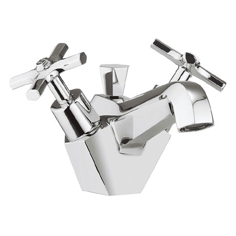 Crosswater - Waldorf Art Deco Crosshead Monobloc Basin Mixer with Pop-up Waste - WF110DPC